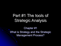 Part #1 The tools of Strategic Analysis
