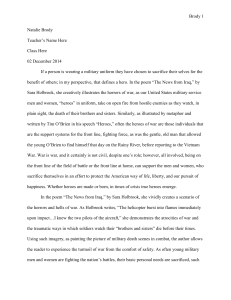Sample Essay Military Heroism