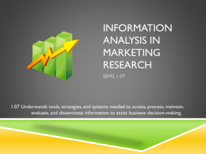 Information Analysis in Marketing Research
