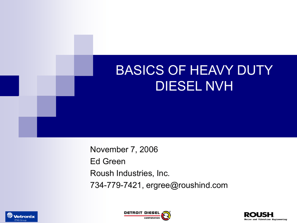 Rousch Basics Of Heavy Duty Nvh Course
