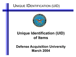 UID Briefing - Northrop Grumman Corporation