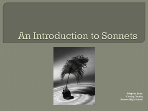 An Introduction to Sonnets - Miss Van Ness's English Class