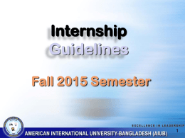Internship Guidelines and Important Dates Fall 2015