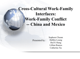 Cross-Cultural Work-Family Interfaces: Work Family Conflict— China