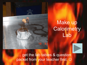 Make up Calorimetry Lab