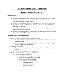 7 th Grade General Music Lesson Plans Week of November 4th, 2013