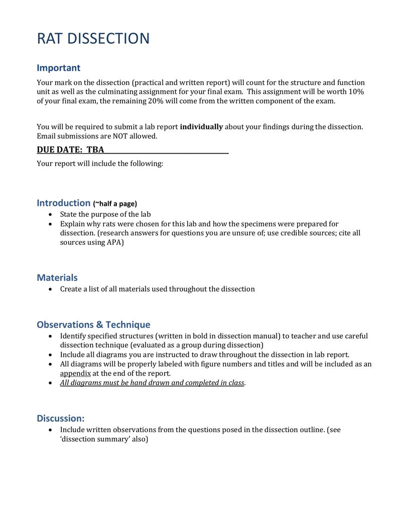 rat dissection – Rat Dissection Worksheet