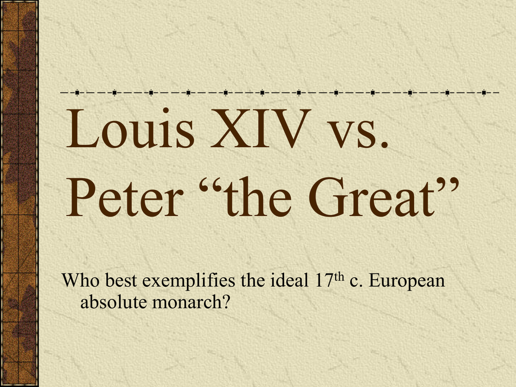 louis xiv vs peter the great The Euler Diagram