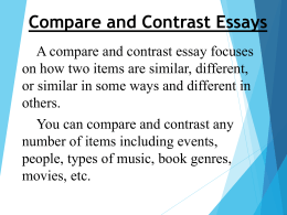 "compare and contrast essay about two movies Free tips on comparison and contrast essay in this type of essay students have to compare two (in some essays compare and contrast the movies ""god."