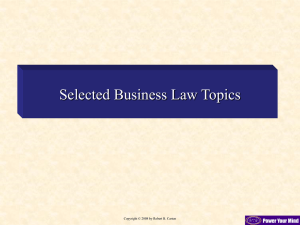 Selected Business Law Topics
