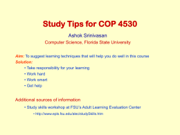 Study Tips - FSU Computer Science Department