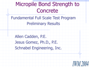 Micropile Bond Strength to Concrete