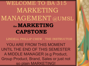 ba 315 marketing management @umsl lindell