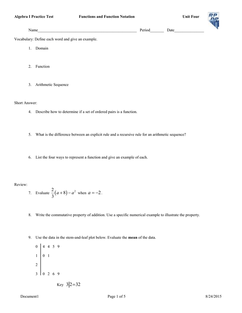 - Unit 4 Functions And Function Notation Practice Test (doc)