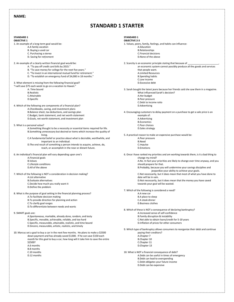 Starter Quiz Questions/Review