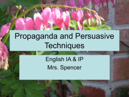Propaganda and Persuasive Techniques
