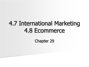 4.7 International Marketing 4.8 Ecommerce