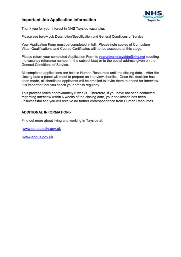 job application pack nhs scotland recruitment