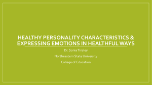 HealthFul personality characteristics/expressing emotions in