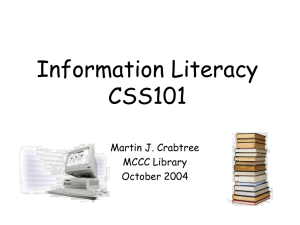 Information Literacy CSS101 - Mercer County Community College