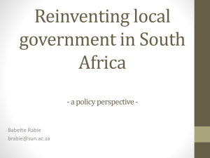 Reinventing local government in South Africa
