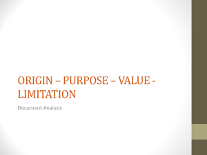 ORIGIN – PURPOSE – VALUE