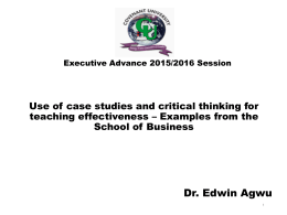 Use of case studies and critical thinking for teaching effectiveness