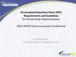 Personalized Education Plans (PEP) Requirements and Guidelines