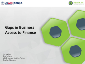 Gaps in Business Access to Finance