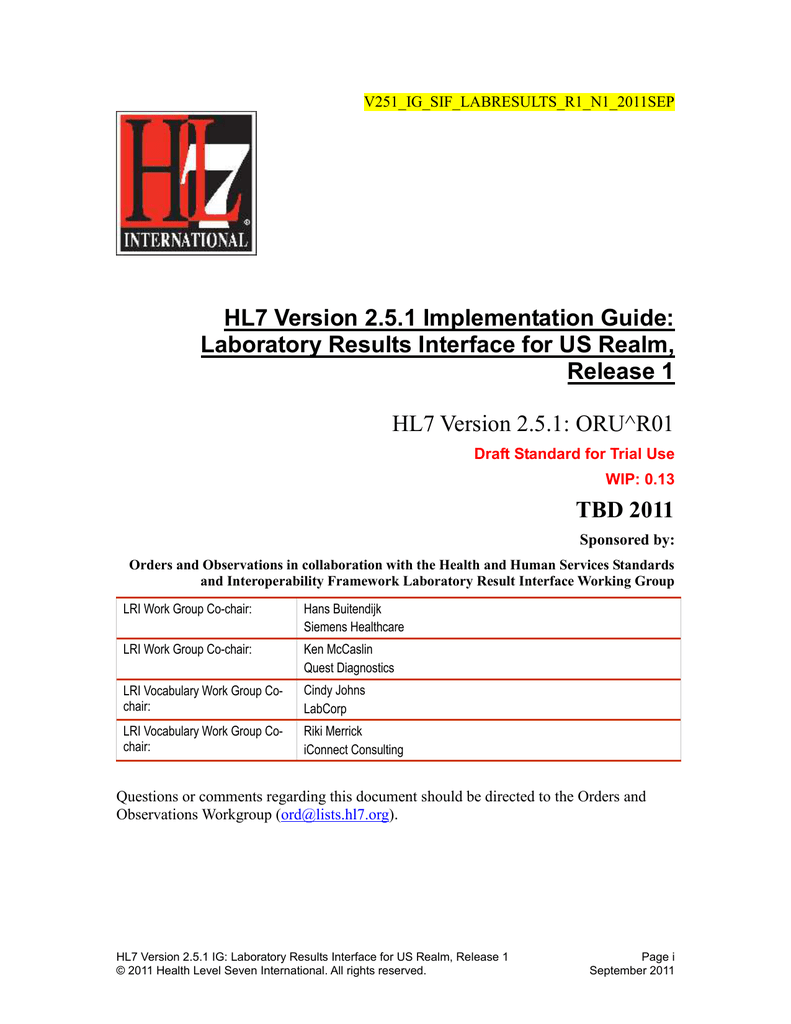 HL7 Version 2 5 1 IG: Laboratory Results Interface for US Realm