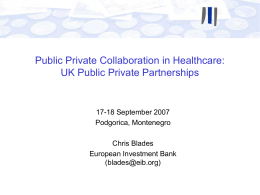 The role of PPPs in infrastructure and management in healthcare
