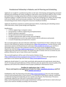Postdoctoral Fellowship in Robotics and AI Planning and