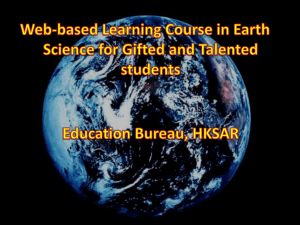 Web-based Learning Course in Earth Science for Gifted and