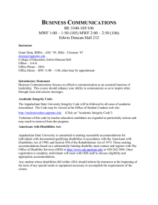 BE3340106091 - Syllabi - Appalachian State University