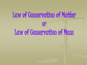 Law of Conservation of Matter or Law of Conservation of