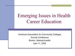 Emerging Issues in Health Career Education