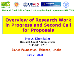 Overview of research work in progress and second call for proposals