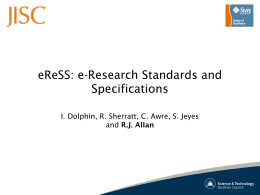 eReSS: e-Research Standards and Specifications