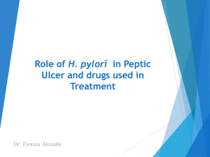 L1-Role of H[1].pylori in peptic ulcer and drugs used in treatment