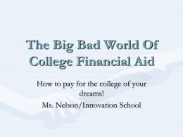 Scholarship Power Point Outline finanical_aid_outline