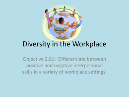 Objective 2.01 - Diversity in the Workplace PPT