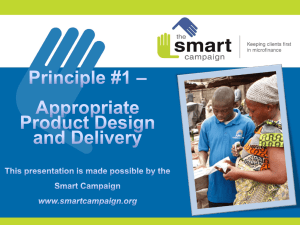 Principle 1: Appropriate Product Design and Delivery