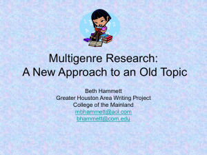 A New Approach to an Old Topic: Multigenre Research