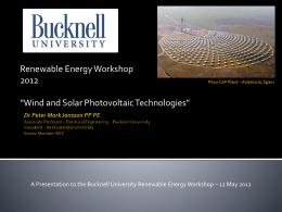 Wind and Solar Photovoltaic Technologies