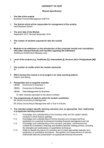 UNIVERSITY OF KENT Module Specification The title of the module