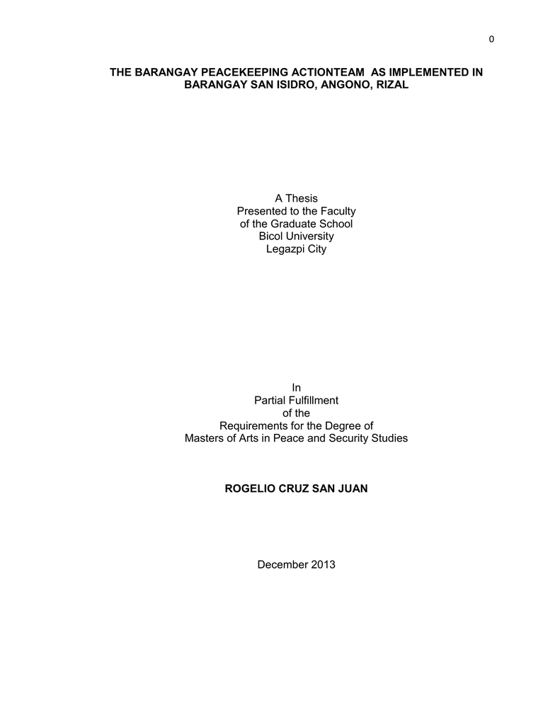 thesis about barangay tanod
