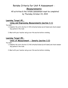 Retake Criteria for Unit 4 Assessment 2014