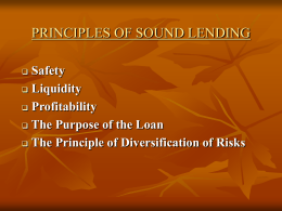 PRINCIPLES OF SOUND LENDING