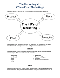 The Marketing Mix (4 P's+2C's)