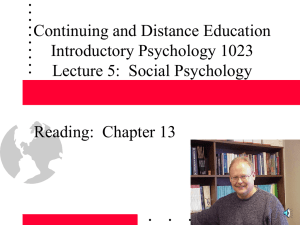 Social Psychology: Interpersonal and Group (Chapter 15)